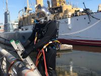 Pile-jacket-repair-on-penns-landing-in-front-of-the-U.S.S-BECUNA-Submarine-for-DRWC-Diver-Zach-Amodio