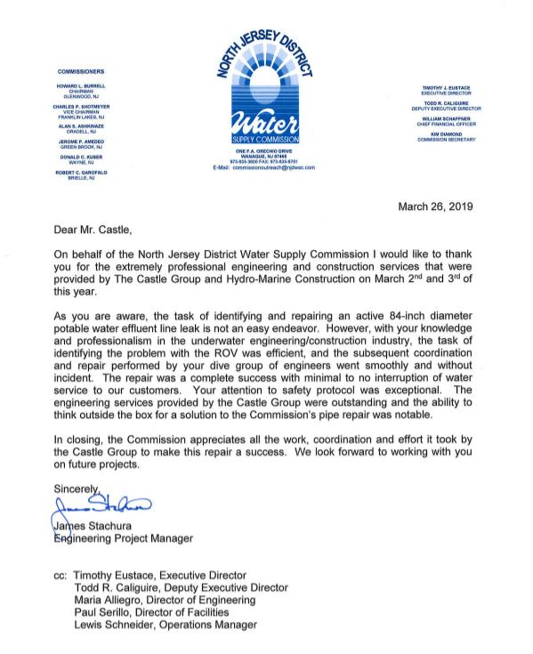 James Stachura Castle Thank You Letter